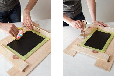 passez une couche de vernis sur les planches brutes afin de donner votre tableau ardoise - Semainier Bois Et Ardoises