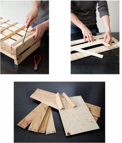pour réaliser un tableau ardoise avec des cagettes en bois commencez par retirer toutes les agrafes pour séparer tous les morceaux de bois