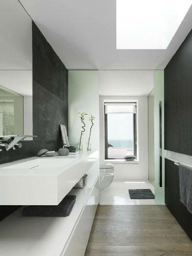 Salle de bain design noir et blanc ambiance zen for Salle de bain design noir et blanc