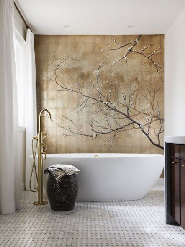 salle de bain zen avec d coration murale fa on nature morte. Black Bedroom Furniture Sets. Home Design Ideas
