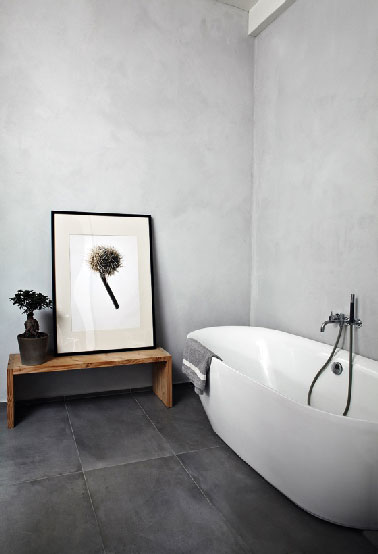 salle de bain zen carrelage gris anthracite mur béton gris perle - Beton Mural Salle De Bain