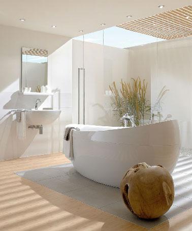 Parquet et puit de lumi re dans salle de bain zen for Ambiance zen pour salle de bain