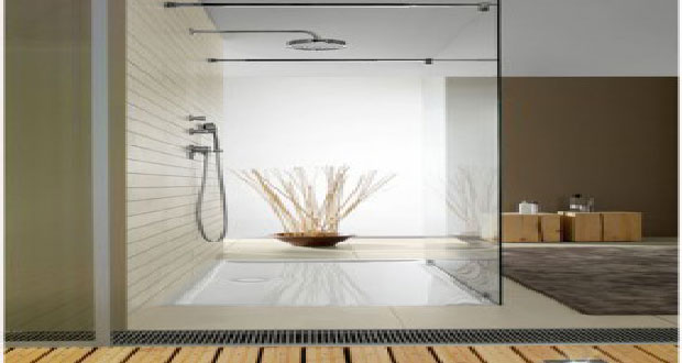 Douche italienne mod le douche design receveur et carrelage for Carrelage grande dimension