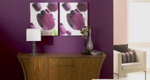 Appliquée sur un pan de mur du salon, la couleur aubergine livre l'intensité de son aspect chic lorsqu'elle est mise en contraste avec une nuance claire de peinture couleur lin ou de beige