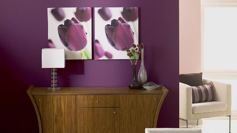 Peinture violet parme aubergine associations couleur - Decorer un grand pan de mur ...