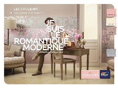 La collection Romantic de Dulux Valentine L'ambiance Romantic, 9 couleurs pastel de lin écru, cachemire gris flanelle à marier sur les murs et boiseries pour une déco tendrement moderne.