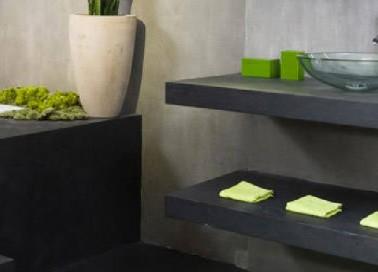 Peinture effet b ton pour carrelage cr dence plan de travail - Effet beton salle de bain ...