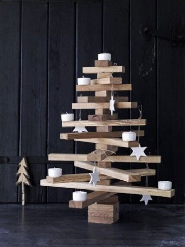 Sapin de no l original a faire soi m me en alternative au vrai d co cool - Sapin noel bois design ...