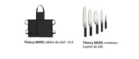 Tablier de chef et couteaux de cuisine tirés de la collection de Thierry Marx éditée pour Habitat