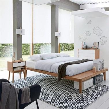 Chevet vintage m lange bois clair et blanc la redoute int rieur - La redoute maison et deco ...