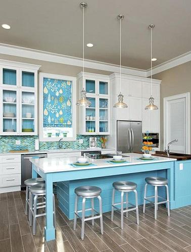 La cuisine bleu on l 39 adore deco cool for Cuisine couleur gris bleu