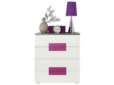 Idéal pour le relooking de la chambre cette commode girly banche et rose à quatre tiroirs créé une ambiance pop à tout les coups