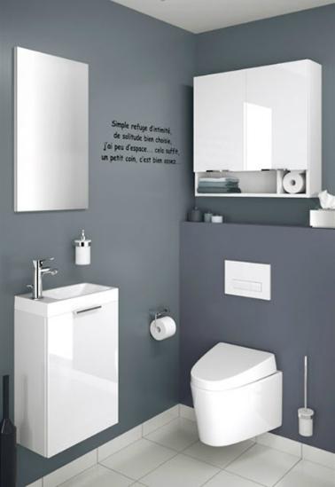Ces WC à la déco épurée proposent des murs anthracite faisant ressortir le blanc laqué des meubles alentours. Des meubles qui paraissent d 'ailleurs en lévitation et qui donnent des airs futuristes aux cabinets. La phrase sticker plaquée au mur vient casser la simplicité et apporte une originalité déco tendance aux toilettes !