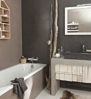am nagement petite salle de bain ambiance nature. Black Bedroom Furniture Sets. Home Design Ideas