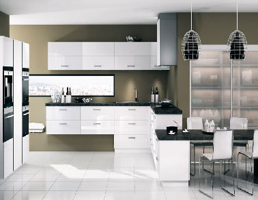 cuisine quip e kiffa blanc brillant de mobalpa. Black Bedroom Furniture Sets. Home Design Ideas