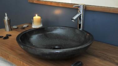 pour r novation salle de bain meuble plan de vasque en teck. Black Bedroom Furniture Sets. Home Design Ideas