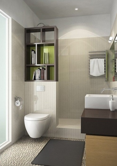 une petite salle de bain avec douche italienne bien am nag e. Black Bedroom Furniture Sets. Home Design Ideas