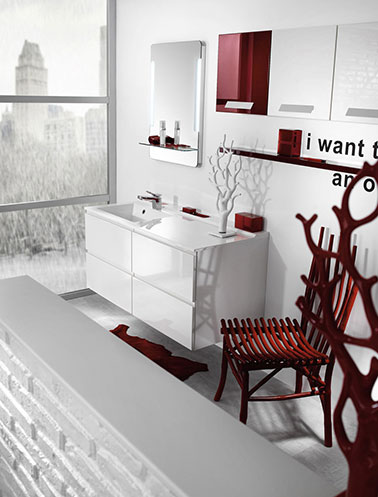 Emejing salle de bain rouge et blanc ideas awesome interior home satellite for Decoration salle de bain rouge