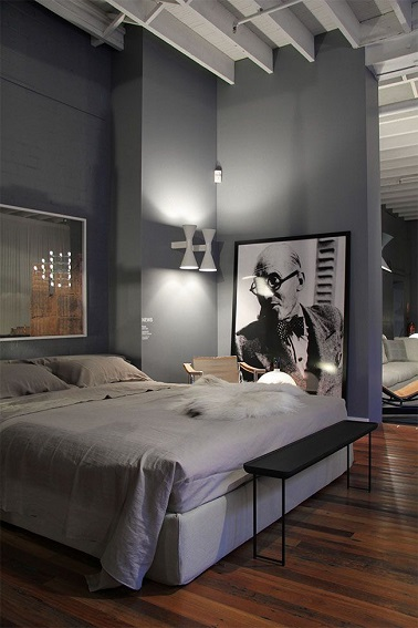 Chambre Mur Gris Meuble Noir : Masculine Bedroom Wall Color