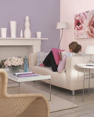 couleur parme pour la peinture salon avec du beige et gris. Black Bedroom Furniture Sets. Home Design Ideas