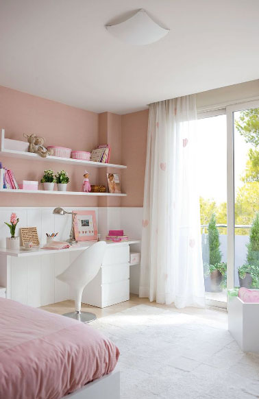 d co chambre fille peinture rose et mobilier blanc. Black Bedroom Furniture Sets. Home Design Ideas