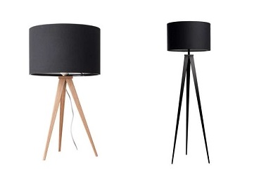 lampe scandinave et lampe totalement noire tripode by. Black Bedroom Furniture Sets. Home Design Ideas