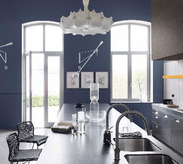 Peinture cuisine bleu stone couleur couture dulux valentine for Peinture cuisine bleu