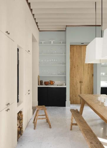 Peinture murs cuisine couleur lin et bleu tendance r tro chic d coration maison et id es d co - Cuisine couleur lin ...