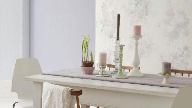 Dans une salle à manger/salon gris Charme et ivoire on n'hésite pas à booster la dominante de teintes neutres avec une association subtile de couleur verte en touches discrètes mais efficaces. Peinture Dulux Valentine
