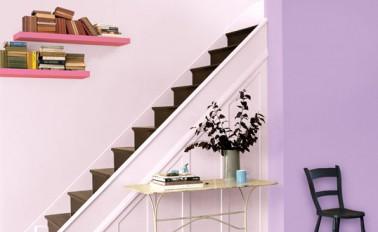 Dans cette entrée, la clarté du mur parme associée à du rose sur un pan de mur aère l'espace tout entier. L'escalier en bois donnent du caractère à toute l'entrée grâce à une palette de couleurs heureuse.