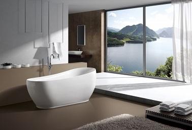 Idéale pour une grande salle de bain, cette baignoire centrale adopte l'ambiguïté des formes avec un socle visible rectangulaire qui se développe en hauteur dans des courbes plus ovales. Une dualité dans le design qui rajoute à la modernité de cette baignoire d'aspect simple et élégant. Dans une grande salle de bain, cette baignoire îlot à la capacité de rétablir une certaine douceur et un équilibre entre les volumes de part sa conception assez minimaliste.