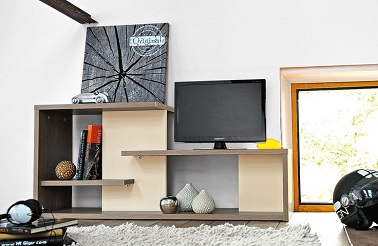 Ce banc multimédia joue la carte de l'originalité et de la praticité dans le salon. De couleur imitation chêne smoke, le design de ce banc multimédia est parfait pour un salon aux murs couleur lin clair ou toute autre couleur naturelle du genre. Fonctionnel, ce meuble, une fois accolé à un mur, sert à la fois d'étagères de rangement, de bibliothèque mais aussi de meuble TV tendance. Le salon peut-il rêver  mieux que ce banc multimédia Gautier pour aménager l'espace !   Collection Tweed by Gautier