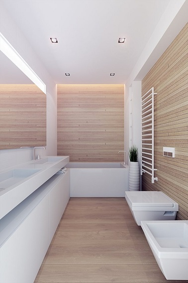 salle de bain design en bois et sanitaire blanc. Black Bedroom Furniture Sets. Home Design Ideas