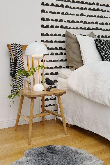 Voici un exemple de tête de lit à peindre pour personnaliser sa chambre de façon originale  avec des motifs réalisés au pochoir ou à main levée avec une peinture de couleur en contraste avec le mur.