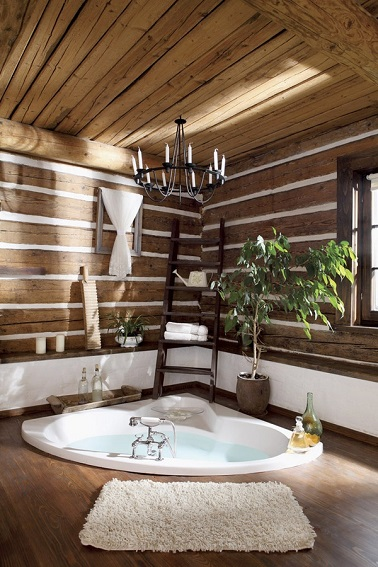luxe dans une salle de bain en bois. Black Bedroom Furniture Sets. Home Design Ideas