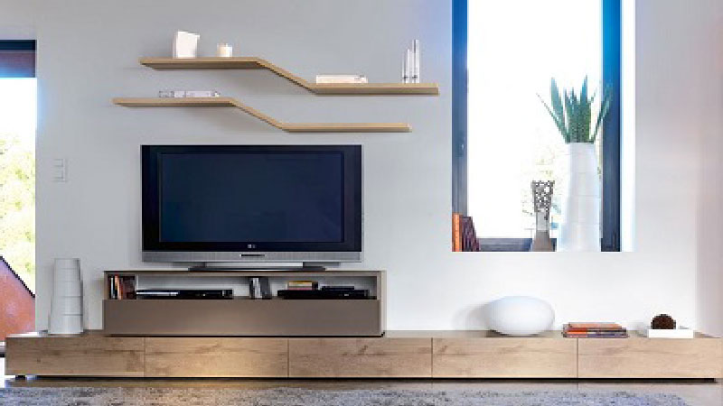 Meuble tv contemporain design collection brem by gautier - Meuble tv bois clair ...