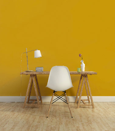 peinture 1825 couleur jaune moutarde dans un bureau. Black Bedroom Furniture Sets. Home Design Ideas