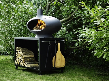 barbecue four bois sur meuble en fonte pour r serve bois. Black Bedroom Furniture Sets. Home Design Ideas