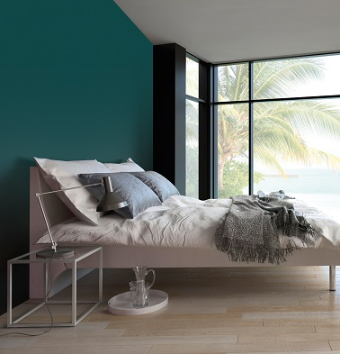 peinture chambre bleu gris ambiance tropicale 1825. Black Bedroom Furniture Sets. Home Design Ideas