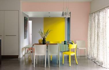 Une peinture rose poudré avec du jaune, une idée couleur tendance & originale pour repeindre la salle à manger.
