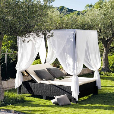 bain de soleil double mobilier de jardin maisons du monde. Black Bedroom Furniture Sets. Home Design Ideas