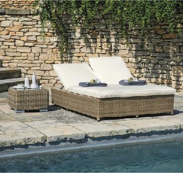 Bain de soleil transat double maisons du monde - Petite table de jardin maison du monde ...