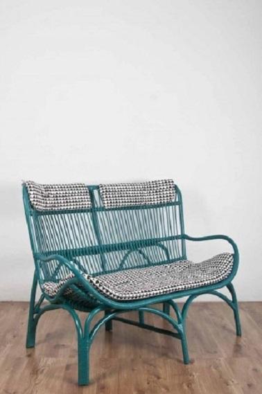 banquette en rotin bleu lac le monde sauvage. Black Bedroom Furniture Sets. Home Design Ideas