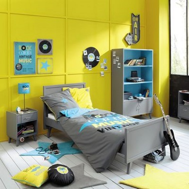 chambre ado fille jaune musique maisons du monde. Black Bedroom Furniture Sets. Home Design Ideas