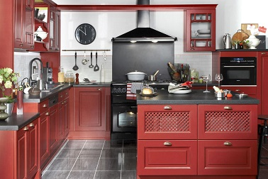 cuisine avec lot central rouge style bistrot lapeyre. Black Bedroom Furniture Sets. Home Design Ideas