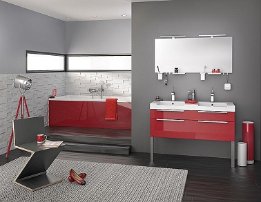 Du rouge et gris pour rendre plus design la salle de bain for Carrelage rouge pour salle de bain