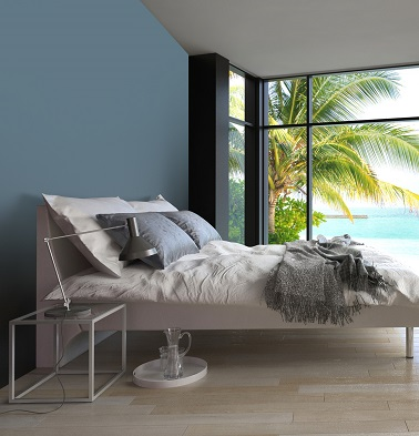peinture gris bleu dans chambre coucher style tropical. Black Bedroom Furniture Sets. Home Design Ideas