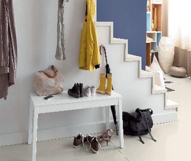 Peinture entr e escalier couleur bleu indigo d colab mat v33 for Peinture escalier bois v