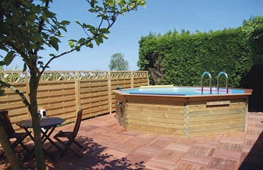 Piscine bois hors sol hexagonale europiscineservices - Decoration de piscine hors sol ...