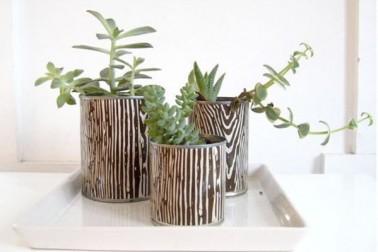 Recouvrir de papier peint imprimé les boites de conserves pour créer des pots de fleurs originaux, une astuce déco DIY facile à reproduire à la maison.